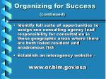 organizing for success continued