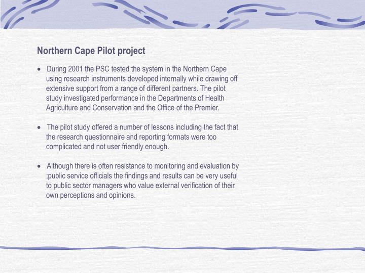 Northern Cape Pilot project