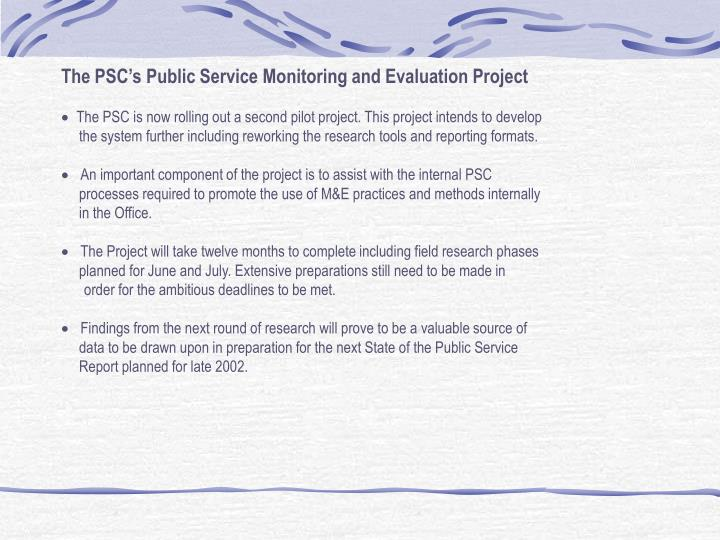 The PSC's Public Service Monitoring and Evaluation Project
