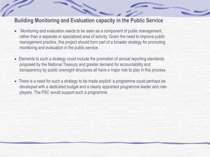 Building Monitoring and Evaluation capacity in the Public Service