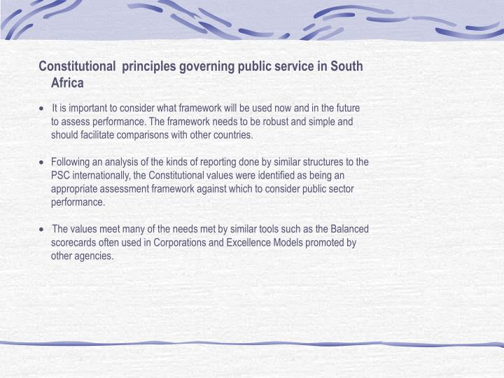 Constitutional  principles governing public service in South Africa
