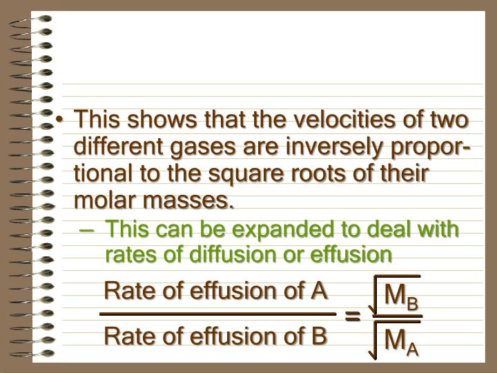 Rate of effusion of A