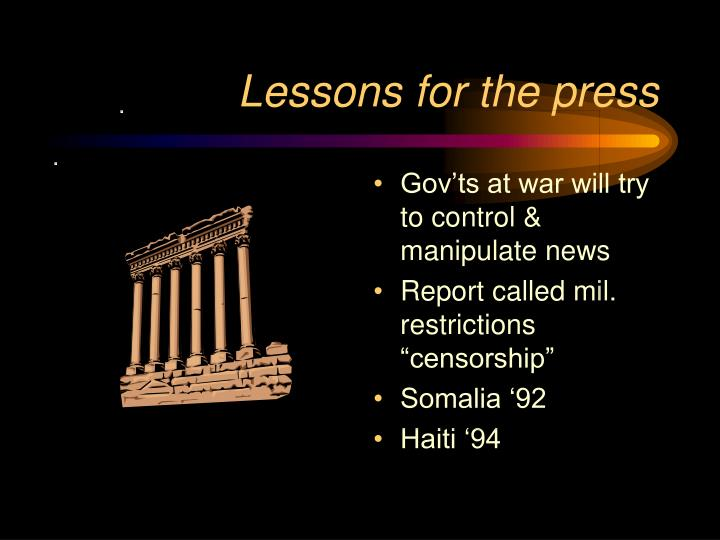 Lessons for the press