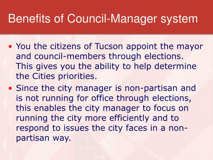 Benefits of council manager system