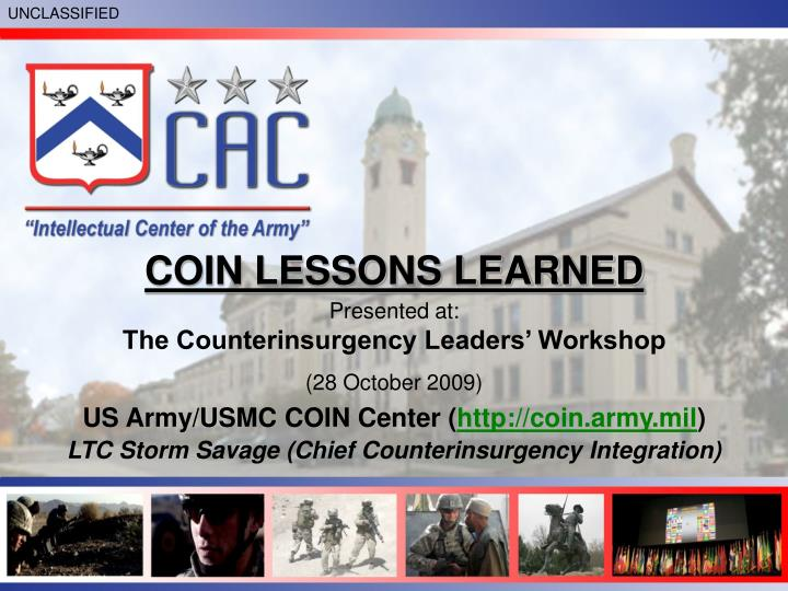 COIN LESSONS LEARNED