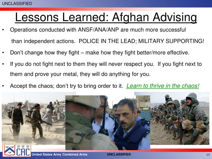 Lessons Learned: Afghan Advising