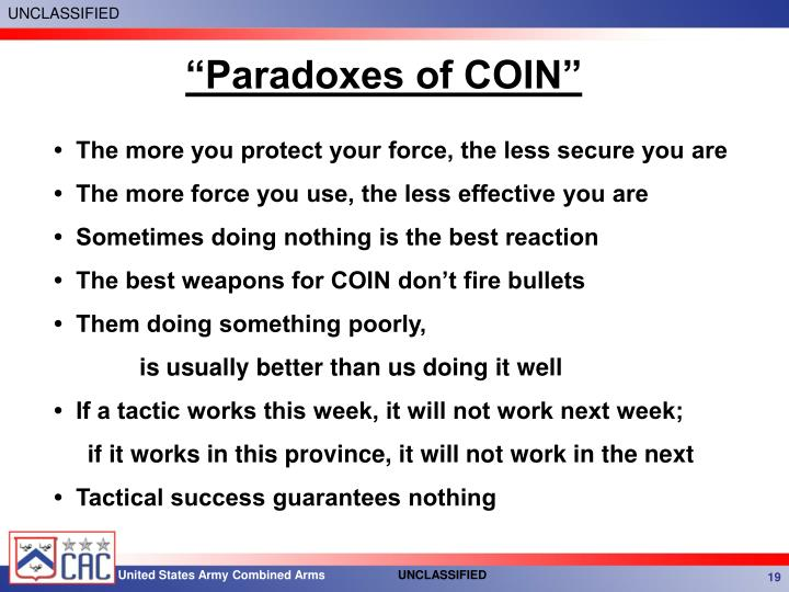 """Paradoxes of COIN"""