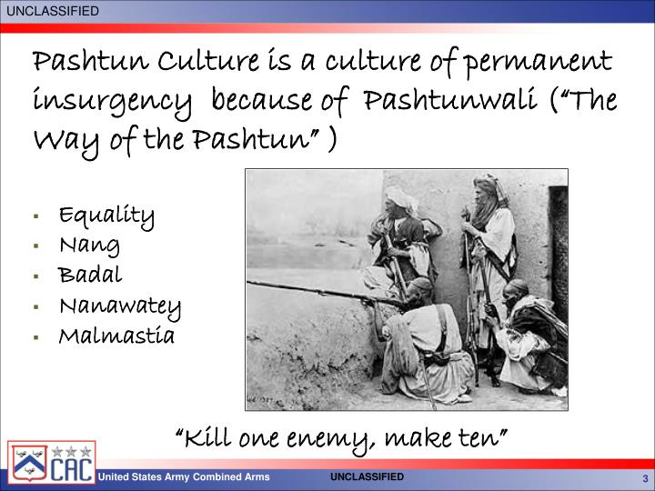 "Pashtun Culture is a culture of permanent insurgency  because of  Pashtunwali (""The Way of the Pashtun"" )"