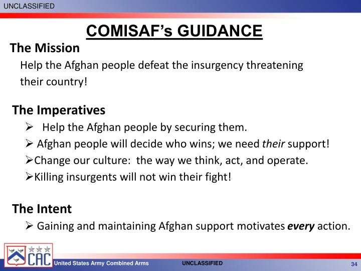 COMISAF's GUIDANCE
