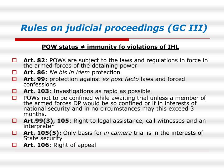 Rules on judicial proceedings (GC III)