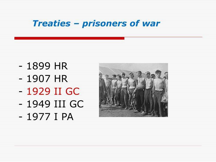 Treaties – prisoners of war