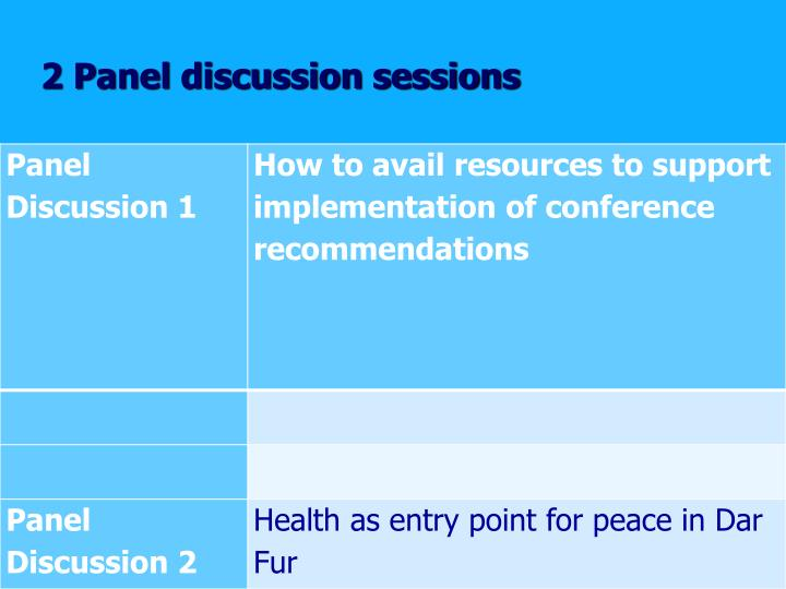 2 Panel discussion sessions
