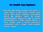 on health care system