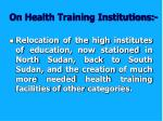 on health training institutions