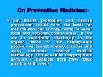 on preventive medicine