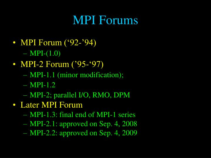 MPI Forums