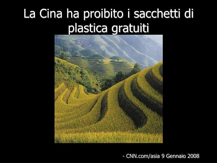 La Cina ha proibito i sacchetti di plastica gratuiti