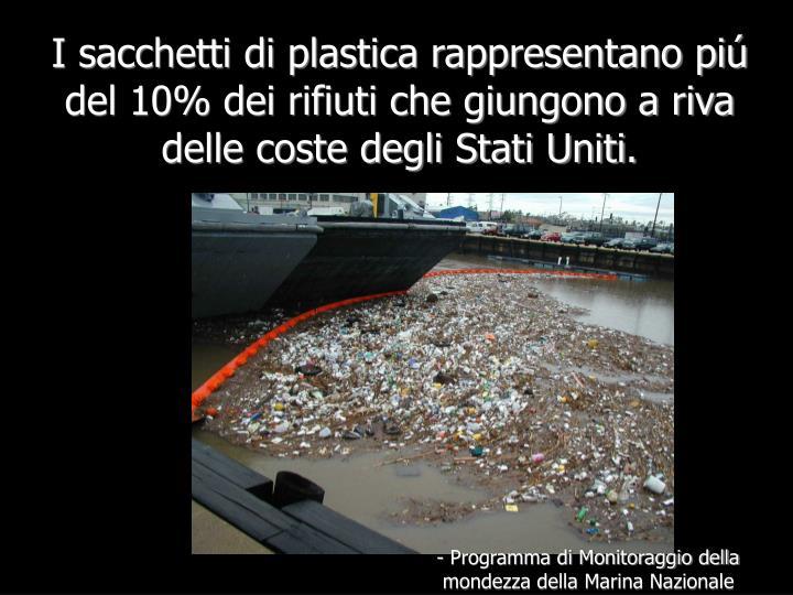 I sacchetti di plastica rappresentano piú del 10% dei rifiuti che giungono a riva delle coste degli Stati Uniti.
