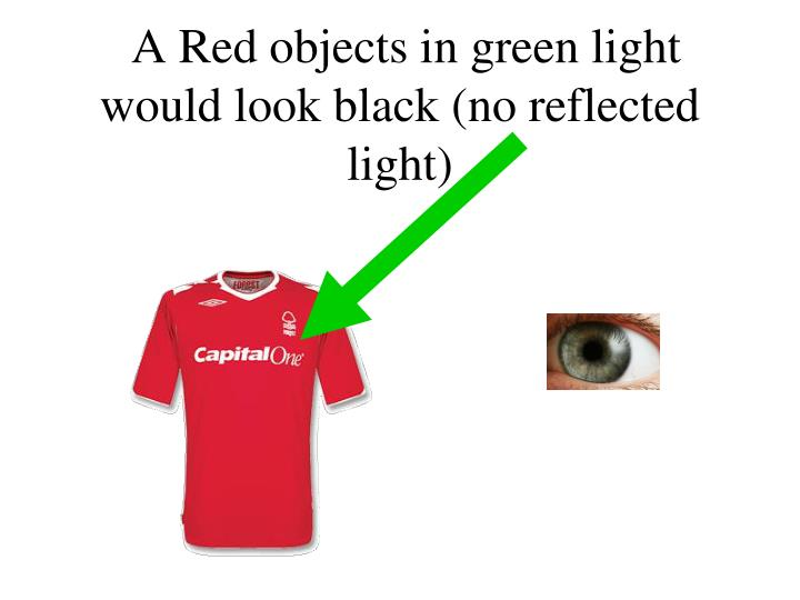 A Red objects in green light would look black (no reflected light)