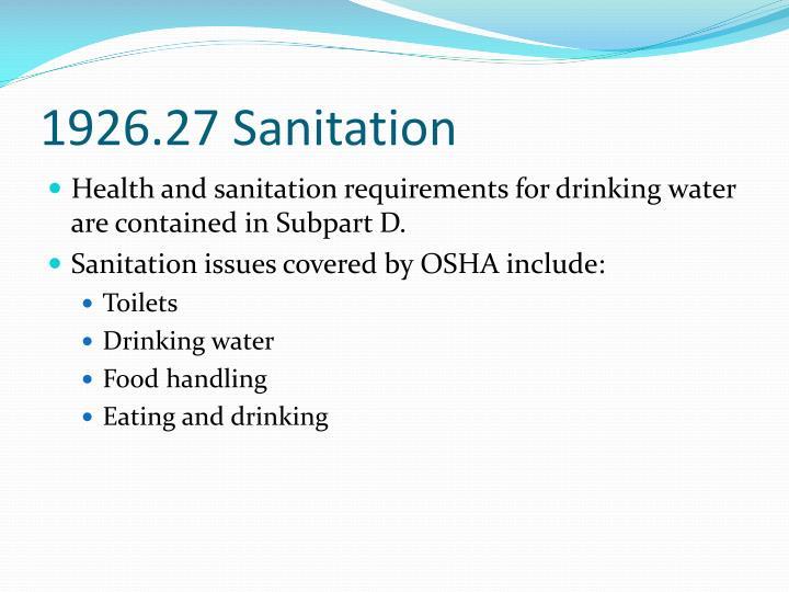 1926.27 Sanitation