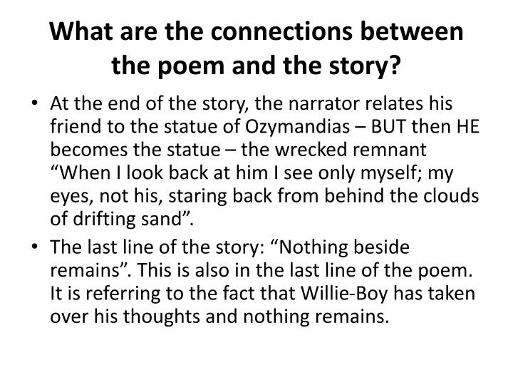 What are the connections between the poem and the story