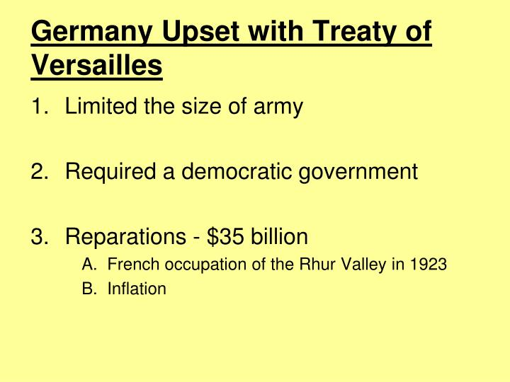 Germany Upset with Treaty of Versailles