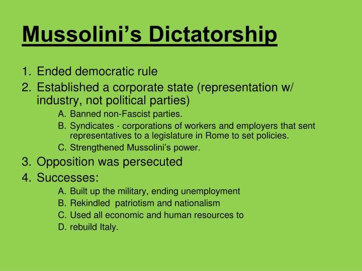 Mussolini's Dictatorship
