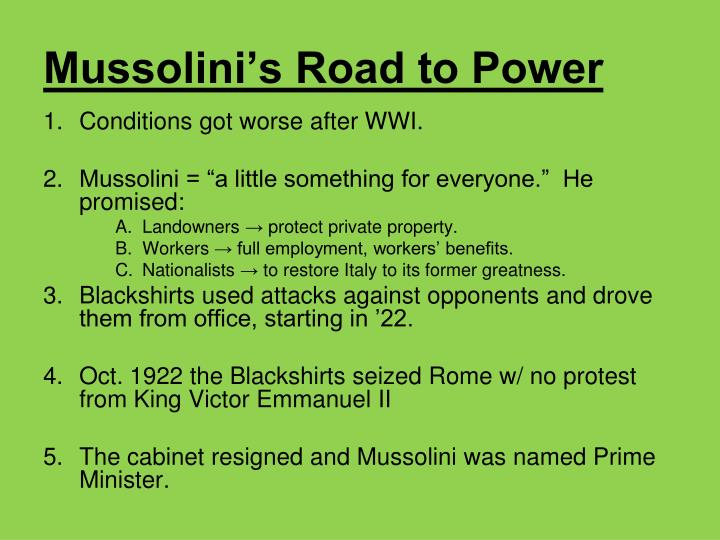 Mussolini's Road to Power