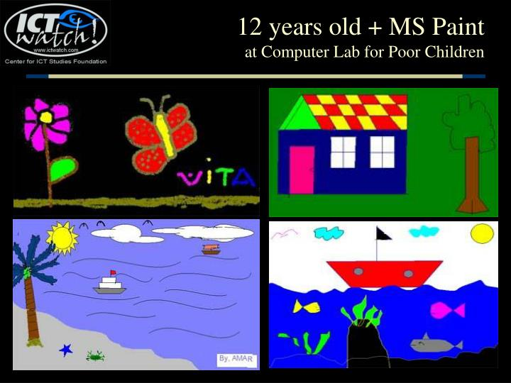 12 years old ms paint at computer lab for poor children