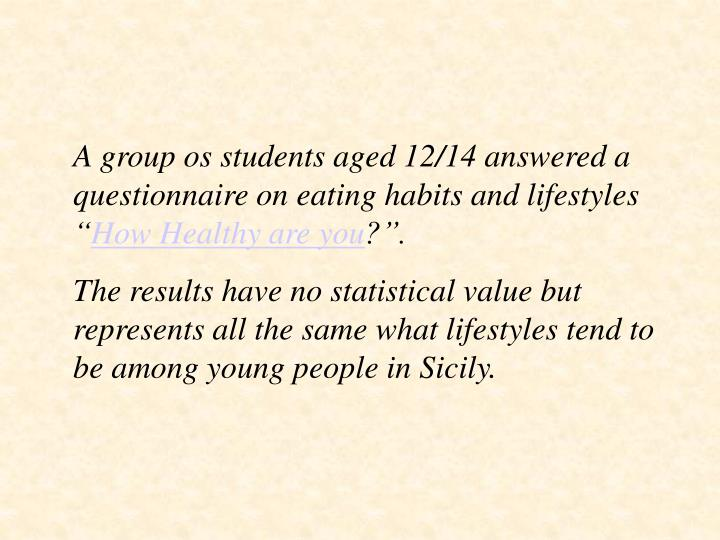 """A group os students aged 12/14 answered a questionnaire on eating habits and lifestyles """""""