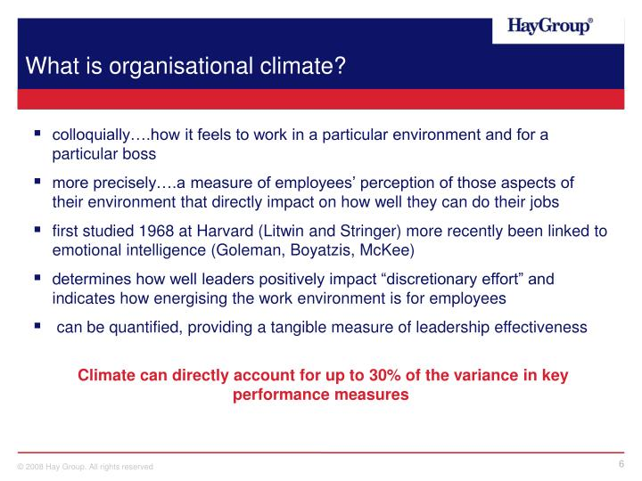 What is organisational climate?