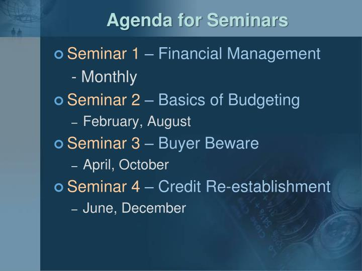 Agenda for Seminars