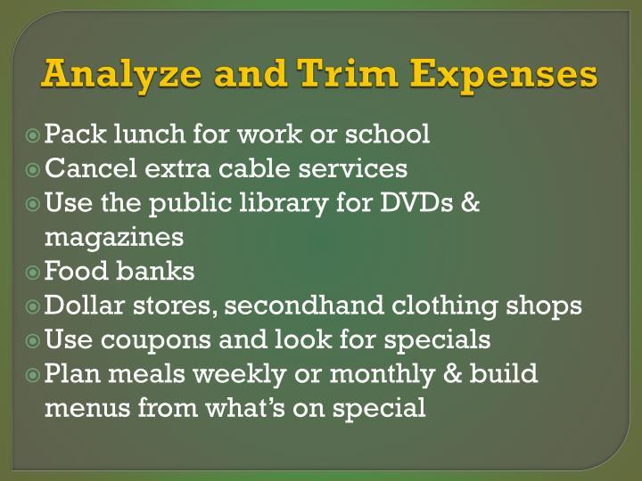 Analyze and Trim Expenses