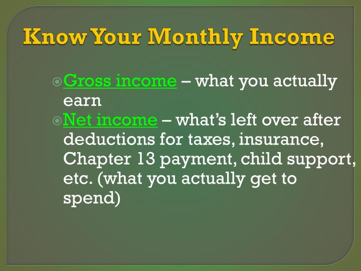 Know Your Monthly Income