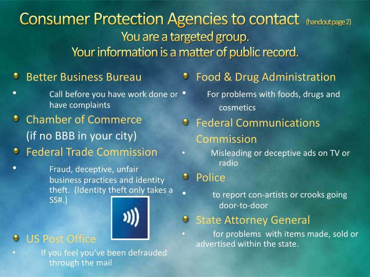 Consumer Protection Agencies to contact