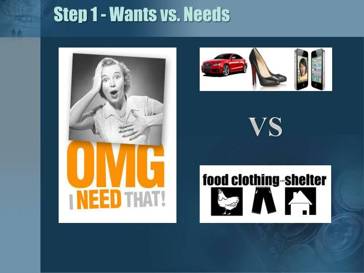 Step 1 - Wants vs. Needs