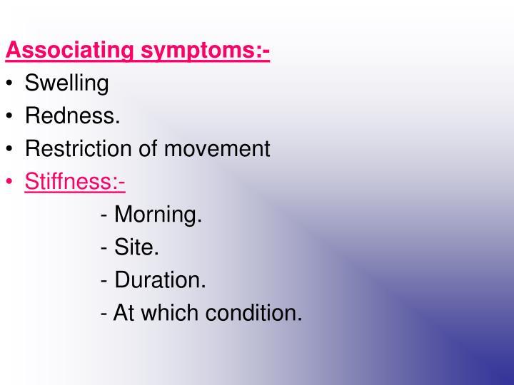Associating symptoms:-