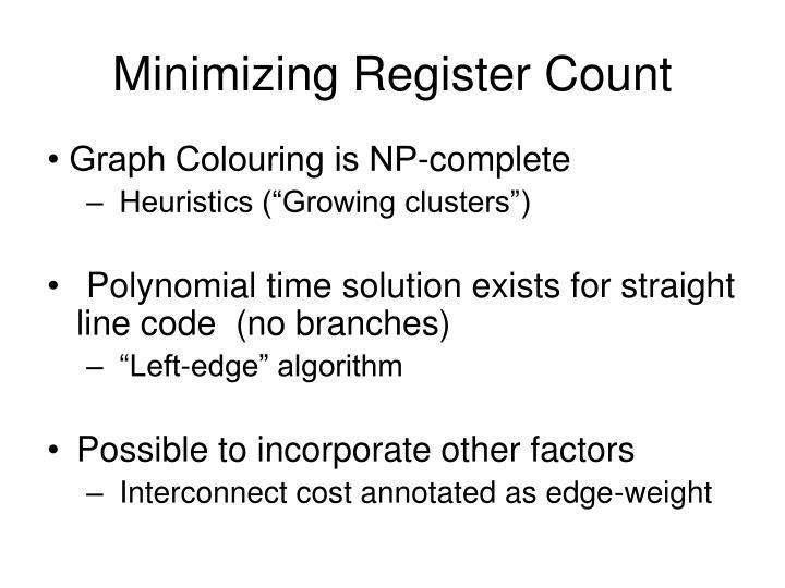 Minimizing Register Count