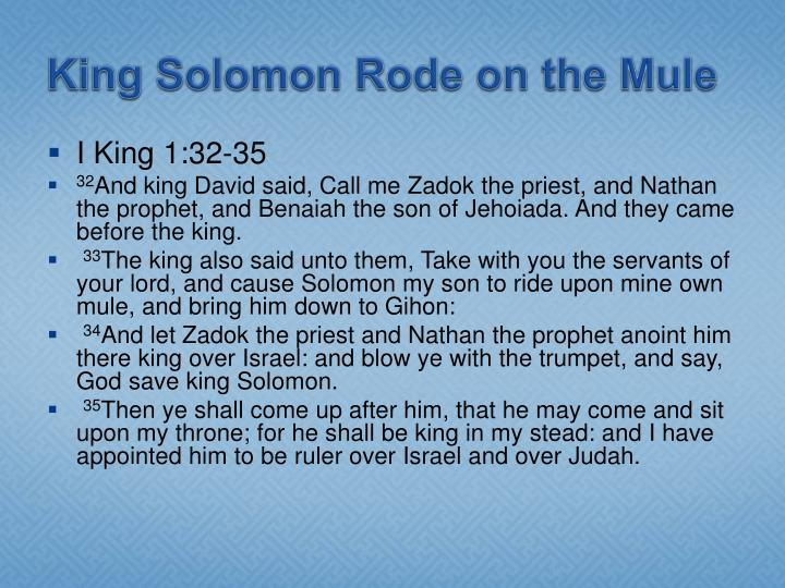 King Solomon Rode on the Mule