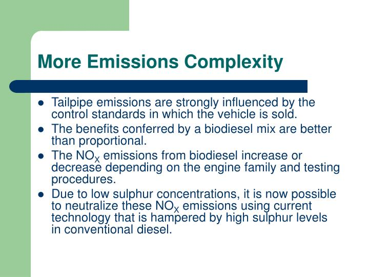 More Emissions Complexity