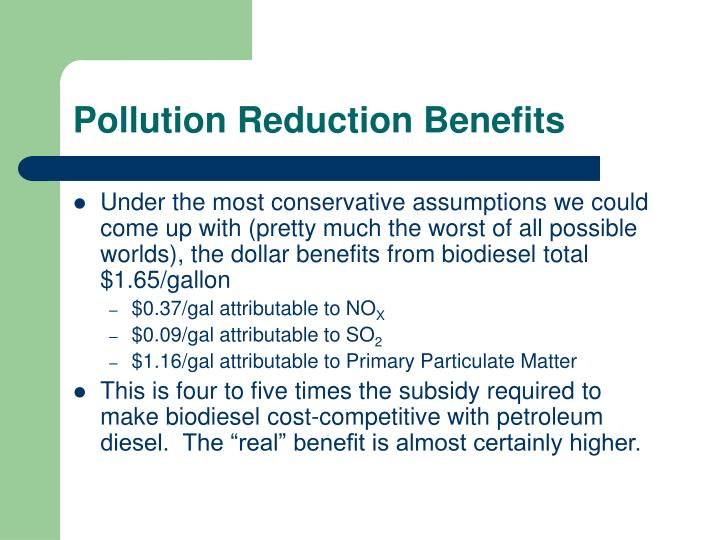 Pollution Reduction Benefits