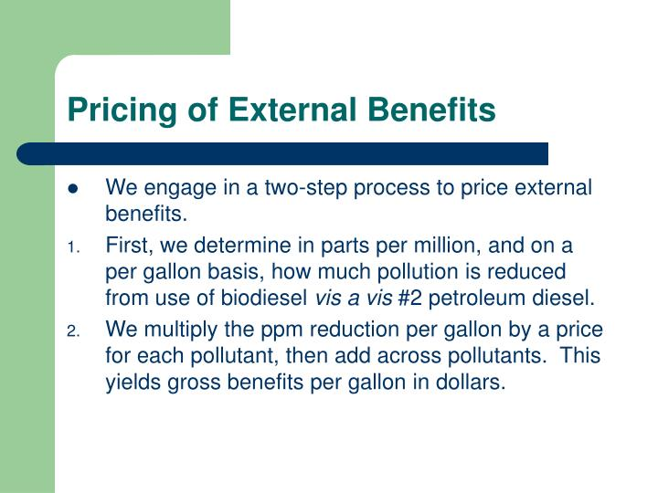 Pricing of External Benefits