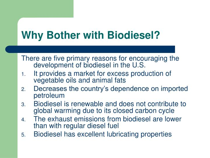 Why Bother with Biodiesel?