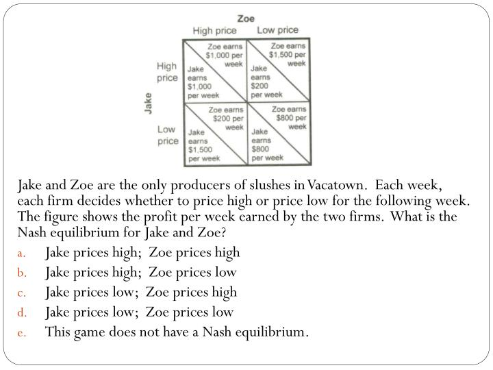 Jake and Zoe are the only producers of slushes in Vacatown.  Each week, each firm decides whether to price high or price low for the following week.  The figure shows the profit per week earned by the two firms.  What is the Nash equilibrium for Jake and Zoe?