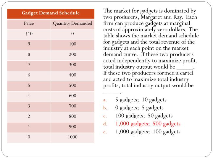 The market for gadgets is dominated by two producers, Margaret and Ray.  Each firm can produce gadgets at marginal costs of approximately zero dollars.  The table shows the market demand schedule for gadgets and the total revenue of the industry at each point on the market demand curve.  If these two producers acted independently to maximize profit, total industry output would be _____.  If these two producers formed a cartel and acted to maximize total industry profits, total industry output would be _____.
