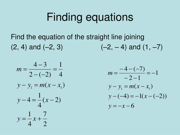 Finding equations