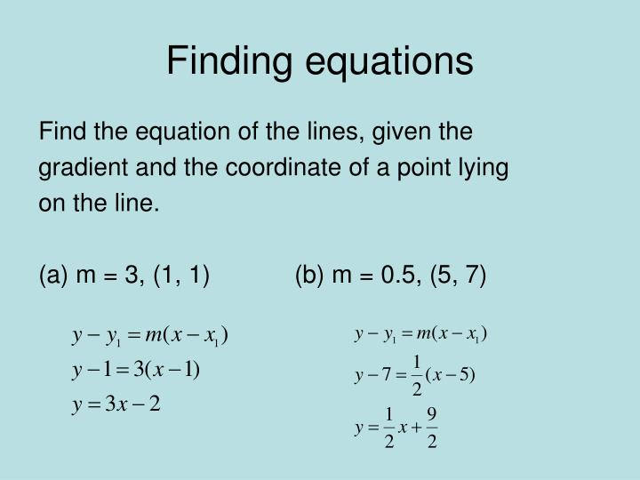 Finding equations1