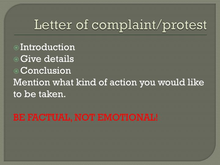 Letter of complaint/protest