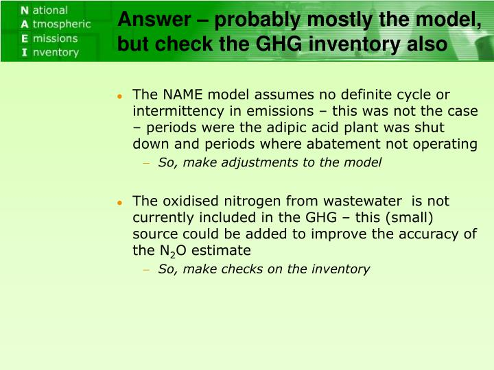 Answer – probably mostly the model, but check the GHG inventory also