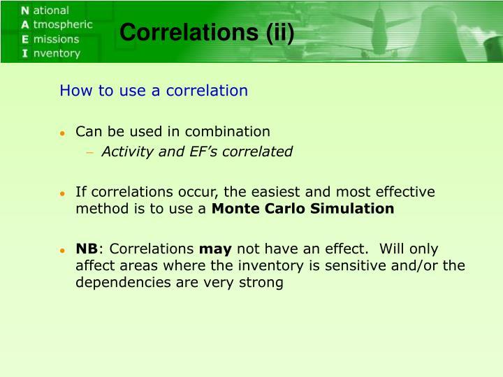 Correlations (ii)